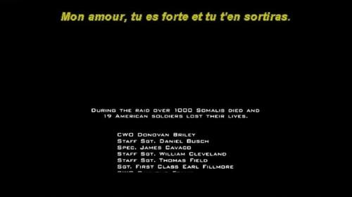 Italic subtitle during closing credits reads: Mon amour, tu es forte et tu t'en sortiras.