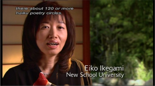 Japanese woman is identified in words as Eiko Ikegami, New School University; italic caption reads: there about 120 or more haiku poetry circles.