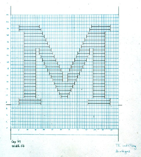 Drawing, on blue graph paper and with handwritten remarks in the margins, shows letter M made up of horizontal lines with perpendicular vertical terminals.